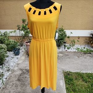NY collection beautiful yellow asymmetrical dress